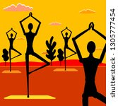 group yoga in nature. people... | Shutterstock .eps vector #1305777454