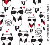 pandas with hearts  hand drawn... | Shutterstock .eps vector #1305778357