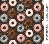 pattern with glazed donuts on... | Shutterstock .eps vector #1305780394
