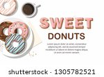 donuts and  and cup of coffee... | Shutterstock .eps vector #1305782521