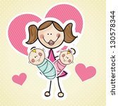 mother with twins babys  and... | Shutterstock .eps vector #130578344