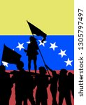 crowd with flag of venezuela on ... | Shutterstock .eps vector #1305797497