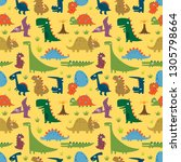 seamless pattern with funny... | Shutterstock .eps vector #1305798664