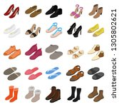 shoes sign 3d icon set... | Shutterstock . vector #1305802621