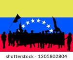 crowd with flag of venezuela on ... | Shutterstock . vector #1305802804