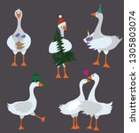 Cartoon Geese With Holiday...