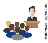 business man tribune speech... | Shutterstock .eps vector #1305810481