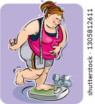 A Fat Woman On A Weighing Scale....