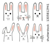 sweet bunnies set. scandinavian ...   Shutterstock .eps vector #1305812941