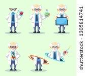 set of crazy old scientist is... | Shutterstock .eps vector #1305814741