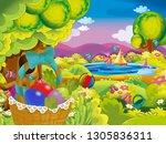 cartoon happy easter basket... | Shutterstock . vector #1305836311