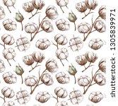 seamless cotton pattern   Shutterstock .eps vector #1305839971
