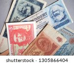 vintage withdrawn banknotes of... | Shutterstock . vector #1305866404