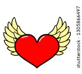 heart  wings icon. line art.... | Shutterstock .eps vector #1305866497