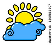 sun  cloud icon. line art.... | Shutterstock .eps vector #1305889807