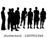 people of with large flags on... | Shutterstock . vector #1305901564