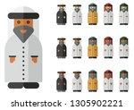 vector set of arab man with... | Shutterstock .eps vector #1305902221