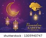 ramadan kareem or eid mubarak... | Shutterstock .eps vector #1305940747