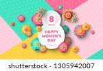 womens day greeting card with... | Shutterstock .eps vector #1305942007