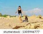 Stock photo young beauyoung girl walking play with her dog xoloitzcuintli on sand beach at sunsettiful girl 1305946777