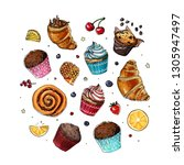 sketch sweets. baking drawn... | Shutterstock .eps vector #1305947497