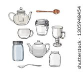 empty glass jars and dishes.... | Shutterstock .eps vector #1305948454