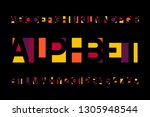 abstract colorful alphabet font.... | Shutterstock .eps vector #1305948544