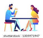 employer and candidate talking... | Shutterstock .eps vector #1305971947
