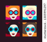 beautiful girls with sunglasses.... | Shutterstock .eps vector #1305991297