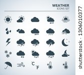 weather icons set. silhouette... | Shutterstock .eps vector #1306010377