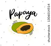 papaya fruit illustration with... | Shutterstock .eps vector #1306014514