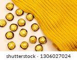 golden premium chocolate sweets ... | Shutterstock . vector #1306027024