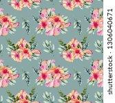 watercolor hibiscus flowers ... | Shutterstock . vector #1306040671