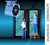 database center server room.... | Shutterstock .eps vector #1306042174