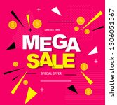 abstract mega sale poster.... | Shutterstock .eps vector #1306051567