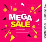 abstract mega sale poster.... | Shutterstock .eps vector #1306051567