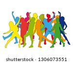 huge collection of party people ...   Shutterstock .eps vector #1306073551