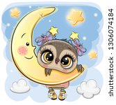 cute cartoon owl girl on the... | Shutterstock .eps vector #1306074184