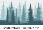 silhouette. spruce forest. the... | Shutterstock .eps vector #1306075744