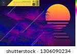 retrowave beach sunset and neon ... | Shutterstock .eps vector #1306090234