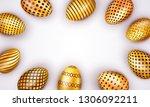 decorated easter golden eggs... | Shutterstock .eps vector #1306092211