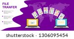 file transfer. two laptops with ... | Shutterstock .eps vector #1306095454
