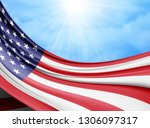 america  flag of silk with... | Shutterstock . vector #1306097317