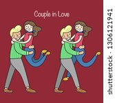 couple in love. man and woman... | Shutterstock .eps vector #1306121941