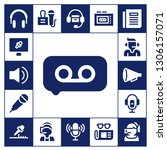 microphone icon set. 17 filled... | Shutterstock .eps vector #1306157071