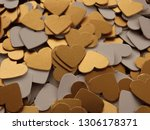 mix of golden paper heart shapes | Shutterstock . vector #1306178371