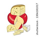 several types of cheese... | Shutterstock .eps vector #1306181017
