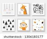 baby shower animals including... | Shutterstock .eps vector #1306183177