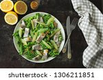 healthy salad with green leaves ... | Shutterstock . vector #1306211851