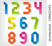 origami numbers. vector set. | Shutterstock .eps vector #130621451